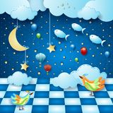 Surreal night with room, moon, balloons, birds and flying fishes. Vector illustration eps10 stock illustration