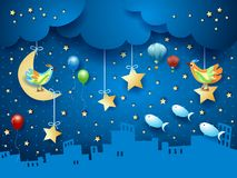 Surreal night with skyline, birds, balloons and flying fishes. Vector illustration eps10 vector illustration