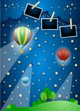Surreal night with spotlights, balloons and photo frames. Vector illustration eps10 stock illustration