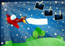 Surreal night with star, airplane with banner and photo frames. Vector illustration eps10 vector illustration