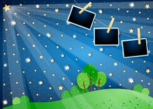 Surreal night with stars, spotlights and photo frames. Vector illustration eps10 stock illustration