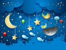 Surreal night with urban skyline and flying umbrella and fishes. Vector illustration eps10 vector illustration