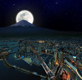 Surreal night view of Yokohama Royalty Free Stock Photography