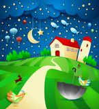 Surreal nigth with farm, umbrella and flying fishes. Vector illustration eps10 royalty free illustration