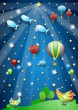 Surreal nigth with spotlight, balloons, birds and flying fishes. Vector illustration eps10 vector illustration