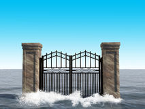 Surreal Ocean Gate Background Illustration. An iron gate illustration opens a door to nowhere at it sits in a sea or ocean. The surreal background scene creates Stock Photo