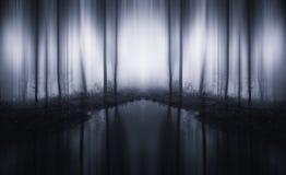 Surreal oneindig bos met meer en mist stock foto's