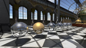 Surreal oprganic spheres in steampunk victorian interior. 3D rendering Stock Photography