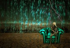 Thinker. Surreal painting. Alien`s skeleton sits on a armchair in pose of thinker. Rain fals down on arid land vector illustration