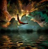 Freedom. Surreal painting. Eagle flies above water surface Royalty Free Stock Photo