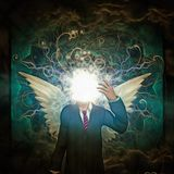 Modern angel. Surreal painting. Faceless man in suit with white wings. Clouds on a background. Human elements were created with 3D software and are not from any vector illustration