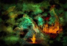 Fire. Surreal painting. Fire on a water Stock Image