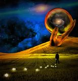 Field of Destiny. Surreal painting. Giant stone hand holds crystal ball. Man in suit is losing light bulbs in green field. Light bulbs symbolizes ideas. Human Stock Images