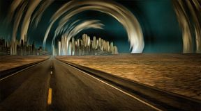 Future city. Surreal painting. Gleaming city in desert with surreal clouds Royalty Free Stock Photos