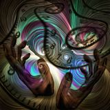 Chronos. Surreal painting. Human`s hands and spirals of time. Colorful swirls. Human elements were created with 3D software and are not from any actual human Stock Image