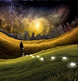 Losing ideas. Surreal painting. Man is losing light bulbs in the green field. Light bulbs symbolizes ideas. Storm over city at the horizon. Colorful galaxies in Stock Image