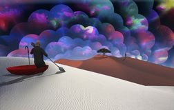 Escape from reality. Surreal painting. Man in red umbrella floating on white desert. Figure of man in a distance. Multilayered spaces represents endless Royalty Free Stock Image