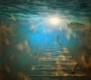 Rebirth. Surreal painting. Man on a sky road walks to bright light. Violin, Stonehenge Royalty Free Stock Images