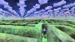 Maze. Surreal painting. Man stands in maze. Clouds in shape of arrows in the sky Royalty Free Stock Photos