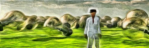 Field of ideas. Surreal painting. Man in white suit stands in field with giant light bulbs. 3D rendering Royalty Free Stock Photo