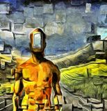 Open Mind. Surreal painting. Naked man with open door instead of face. Road in the field on a background. Square elements. Human elements were created with 3D Royalty Free Stock Image
