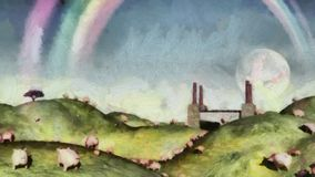 Under the rainbow. Surreal painting. Pigs in the field. Factory at the horizon. Rainbow in the sky Royalty Free Stock Photo
