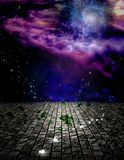 Edge of space. Surreal painting. Stone field in endless space. Light bulbs represents ideas. Some elements image credit NASA Stock Image