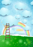 Surreal paper landscape with ladder and swing. Vector illustration eps10 Royalty Free Stock Photography
