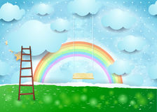 Surreal paper landscape with ladder and swing. Vector illustration eps10 Stock Images