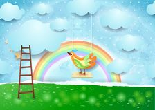 Surreal paper landscape with swing and bird Royalty Free Stock Images