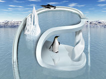 Surreal Penguin Wonderland. Illustration of an impossible two tiered penguin playground Stock Image