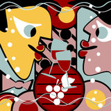 Surreal people and wine. Glasses form a abstract background. Also there is a wine cask stock illustration