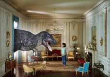 Surreal Pet Dinosaur, Imagination, Girl, Children