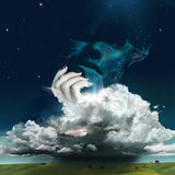 Surreal Photo Manipulation of water face. The illustration of the man`s water face on the dark sky with stars. Womans hand from clouds is holding the face. On royalty free illustration