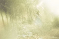 Surreal photo of young woman standing in forest. image is textured and toned. dreamy concept. Stock Images