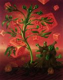 Surreal picture with dice and plants vector illustration