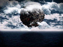 Surreal planet ocean scene. 3D render of a surreal volcanic globe over and ocean with lightning Stock Illustration