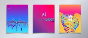 Surreal Pop Art Escher-style and fantasy world Posters. Colorful dynamic floating sunset gradient shapes, reflection, hipster style. Trendy minimal futuristic Royalty Free Stock Photography