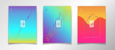 Surreal Pop Art Escher-style and fantasy world Posters. Colorful dynamic floating bubbles shapes, gradient reflection, hipster style. Trendy minimal futuristic Stock Photo