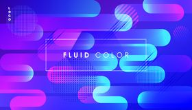 Surreal Pop Art Fluid Color and Minimal Web World. Abstract Colorful Fluid dynamic floating bubbles shapes, gradient reflection, hipster style POSTERS set Royalty Free Stock Photos