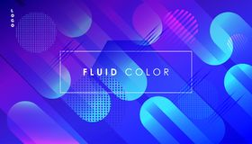 Abstract Pop Art Fluid Color Minimal World Web Business. Abstract Colorful Fluid dynamic floating ultraviolet bubbles shapes, gradient reflection, hipster style Stock Photography