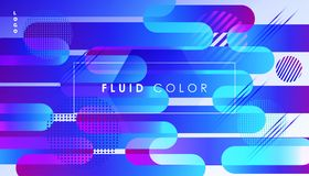 Surreal Pop Art Fluid Color Abstract Minimal World. Abstract Colorful Fluid Dynamic Ultraviolet Rays shapes, gradient reflection, hipster style POSTER. Trendy Stock Photography