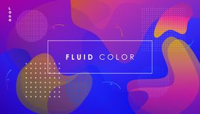 Ultraviolet Pop Art Fluid Color and Minimal World. Abstract Ultraviolet Fluid dynamic floating bubbles shapes, reflection, hipster style POSTERS set. Trendy Royalty Free Stock Image
