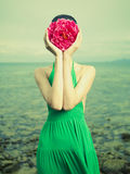 Surreal portrait of woman. Surreal portrait of a woman with a flower instead of a face Royalty Free Stock Photo