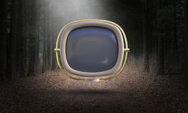 Surreal Vintage TV, Television, Retro, Nature Stock Illustration