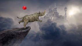 Surreal Rinoceros, Rinoceros, Fantasiekasteel vector illustratie