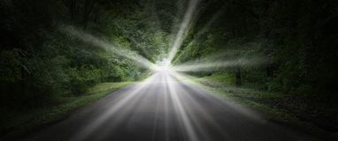 Surreal Road, Highway, Bright Light Stock Photography