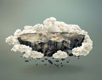 Surreal rocky island surrounded by clouds. Surreal unpopulated rocky island surrounded by clouds floating and disintegrating in midair, with shadow on gray Stock Images