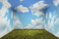 Surreal room. With grass and clouds Stock Image