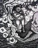 Surreal Scene Black. Original artwork illustration of a peculiar scenario Stock Image